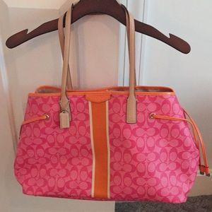 Pink coach tote bag